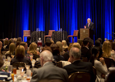 Fomer feature keynote speaker for the Chrysalis Award Luncheon fundraiser, Ron Powers, a Pulitzer Prize-winning journalist and New York Times best-selling author of No One Cares About Crazy People, speaks to those gathered for mental health awareness
